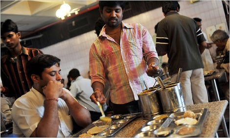 Photo: Keith Bedford for The New York Times. Like those of the other 27 states, the cafeteria at Andhra Pradesh's center in the capital serves its regional cuisine.