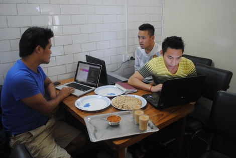 Tibetan youths taking a free computer class at the Tibetan Career Center in Dharamsala, India.