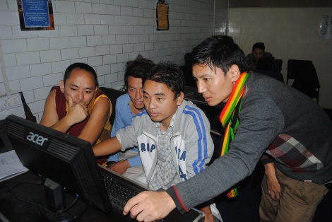 Tibetans take a free computer class at the Tibetan Career Center in Dharamsala, India.
