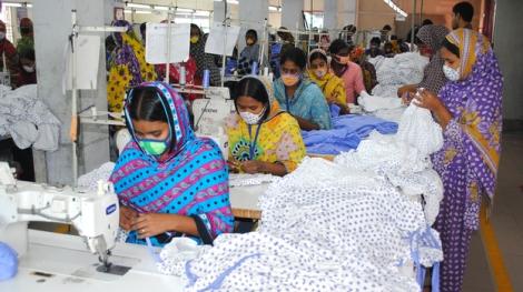 Seamstresses at a factory  near Dhaka, Bangladesh that has begun safety upgrades.